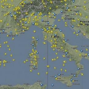 Mappa delle rotte aeree in tempo reale