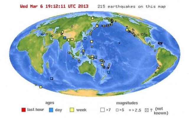 Mappa terremoti nel mondo