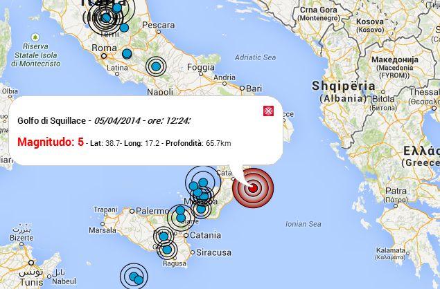 Scossa di magnitudo 5 in Calabria