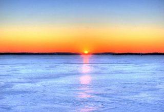 Tramonto sul lago Wisconsin - sfondo desktop