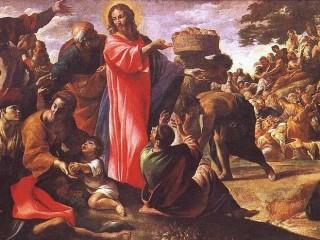 Gesù e il miracolo dei pani e dei pesci di Giovanni Lanfranco