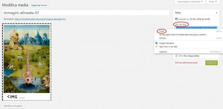 Immagini allineate - copiare URL del file