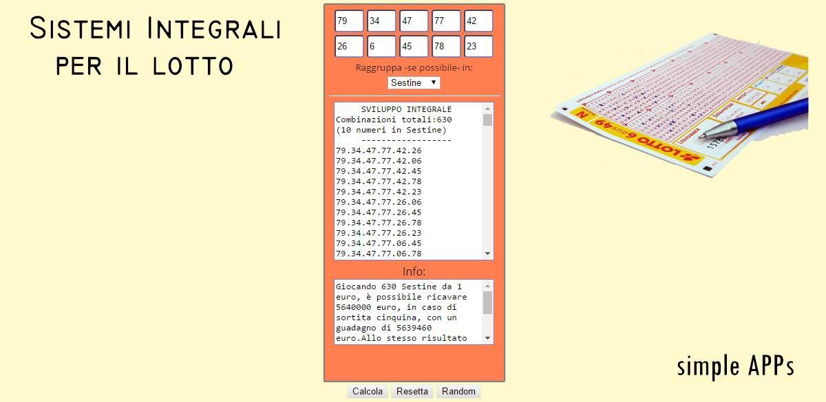 Sistemi Integrali per il Lotto - Simple APPs - Romoletto Blog