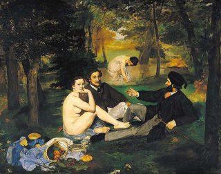 Pranzo sul prato - Monet ( I due uomini ritratti sono il fratello e il futuro cognato)