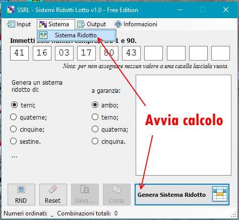 SSRL - Sviluppo Sistemi Ridotti Lotto - Avvio computo