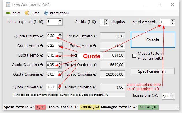 Lotto Calculator Free Edition - Calcolo vincite nette