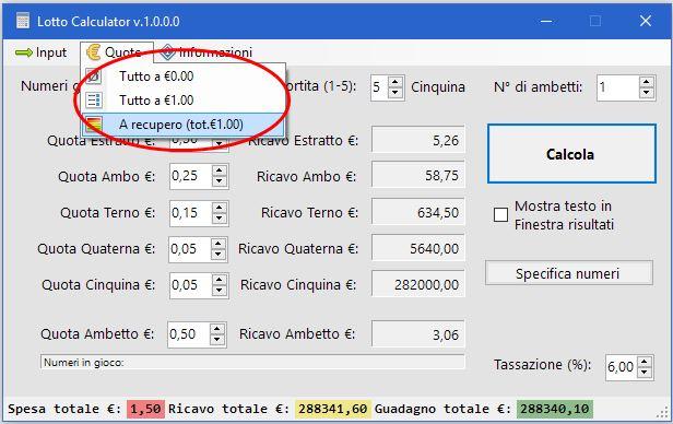 Lotto Calculator Free Edition - Gestione Quote