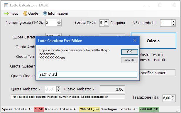 Lotto Calculator Free Edition - Input numerico da copiaincolla