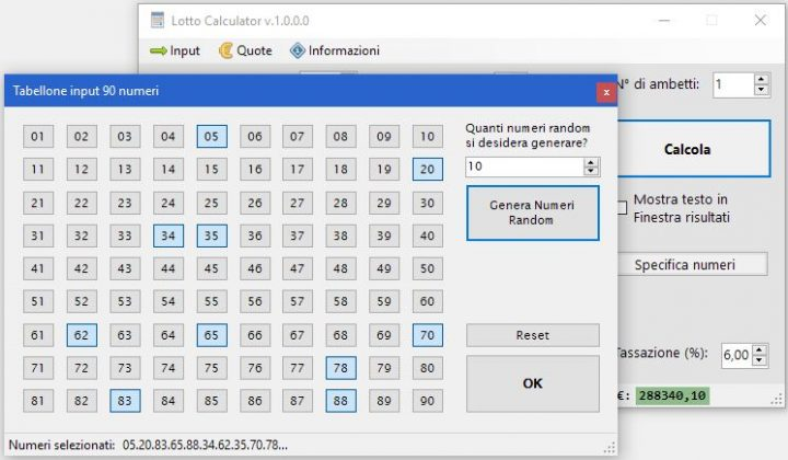 Lotto Calculator Free Edition - Input numerico da tabellone