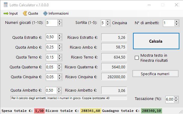 Lotto Calculator Free Edition - Schermata principale