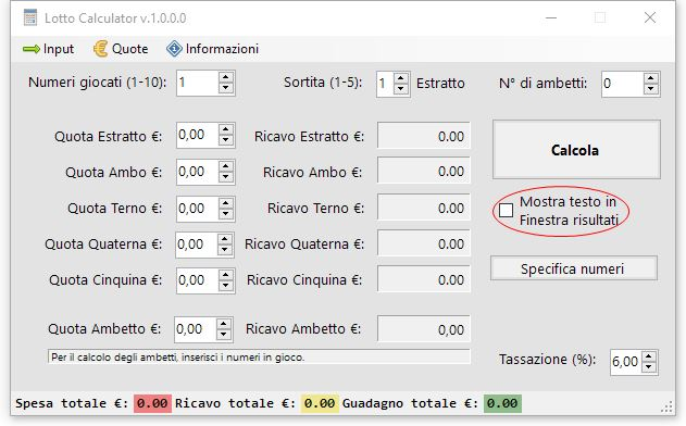 Lotto Calculator Free Edition - Tassazione