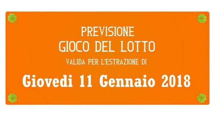 Previsione Lotto 11 Gennaio 2018