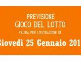 Previsione Lotto 25 Gennaio 2018