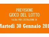 Previsione Lotto 30 Gennaio 2018