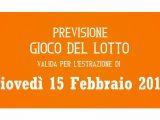 Previsione Lotto 15 Febbraio 2018