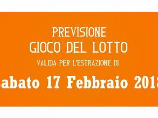 Previsione Lotto 17 Febbraio 2018
