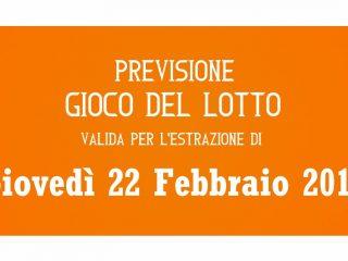 Previsione Lotto 22 Febbraio 2018