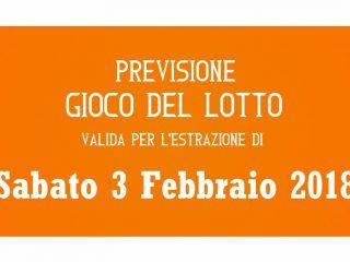 Previsione Lotto 3 Febbraio 2018