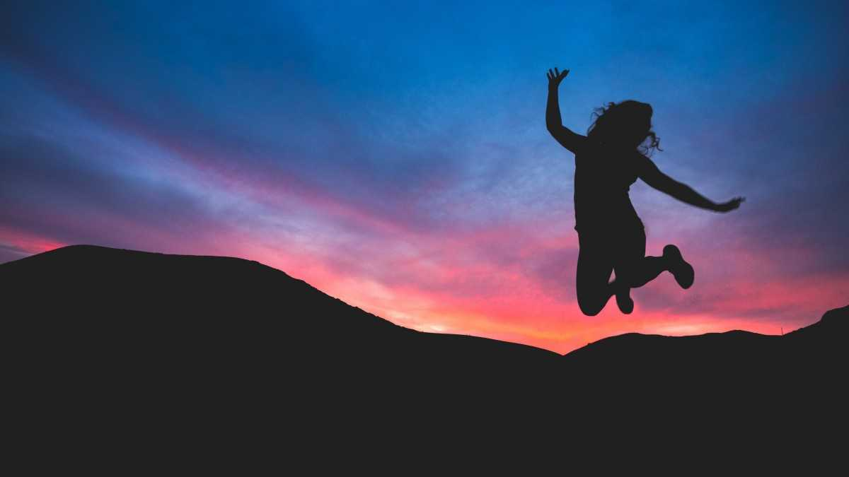 Silhouette di un salto al tramonto