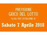 Previsione Lotto 7 Aprile 2018
