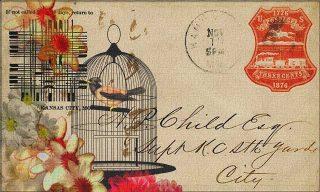 Cartolina vintage con gabbietta