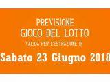 Previsione Lotto 23 Giugno 2018