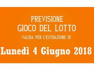 Previsione Lotto 4 Giugno 2018