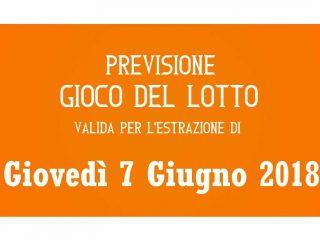 Previsione Lotto 7 Giugno 2018