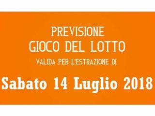Previsione Lotto 14 Luglio 2018