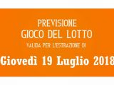 Previsione Lotto 19 Luglio 2018