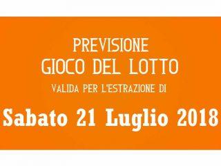 Previsione Lotto 21 Luglio 2018