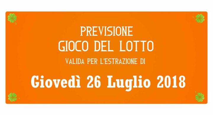 Previsione Lotto 26 Luglio 2018