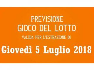Previsione Lotto 5 Luglio 2018