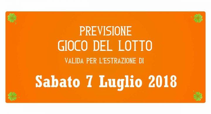 Previsione Lotto 7 Luglio 2018