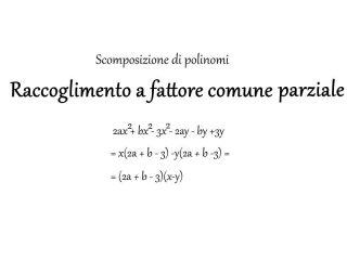 Raccoglimento a fattore comune parziale - Matematica