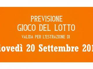 Previsione Lotto 20 Settembre 2018