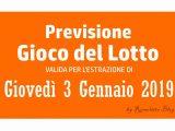 Previsione Lotto 3 Gennaio 2019