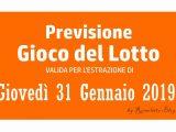 Previsione Lotto 31 Gennaio 2019