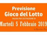 Previsione Lotto 5 Febbraio 2019
