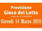 Previsione Lotto 14 Marzo 2019
