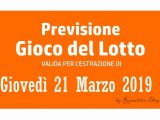 Previsione Lotto 21 Marzo 2019