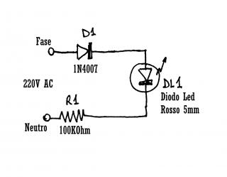 Spia LED 220V - Schema elettronico