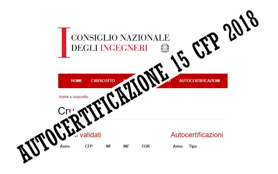 Autocertificazione CFP Ingegneri 2018 - Prorogati i termini di presentazione.