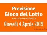Previsione Lotto 4 Aprile 2019