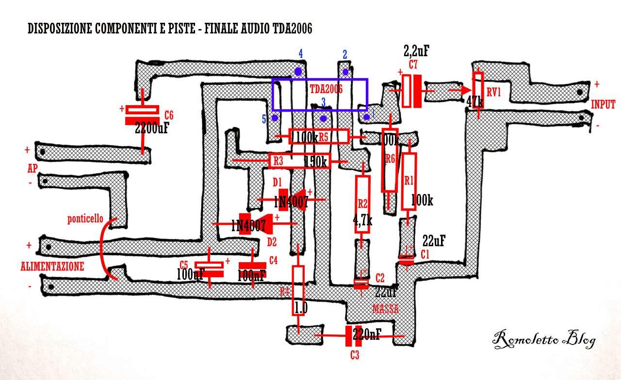 Finale Audio 12 W con TDA 2006 - Disposizione componenti con valori e piste