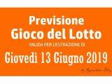 Previsione Lotto 13 Giugno 2019