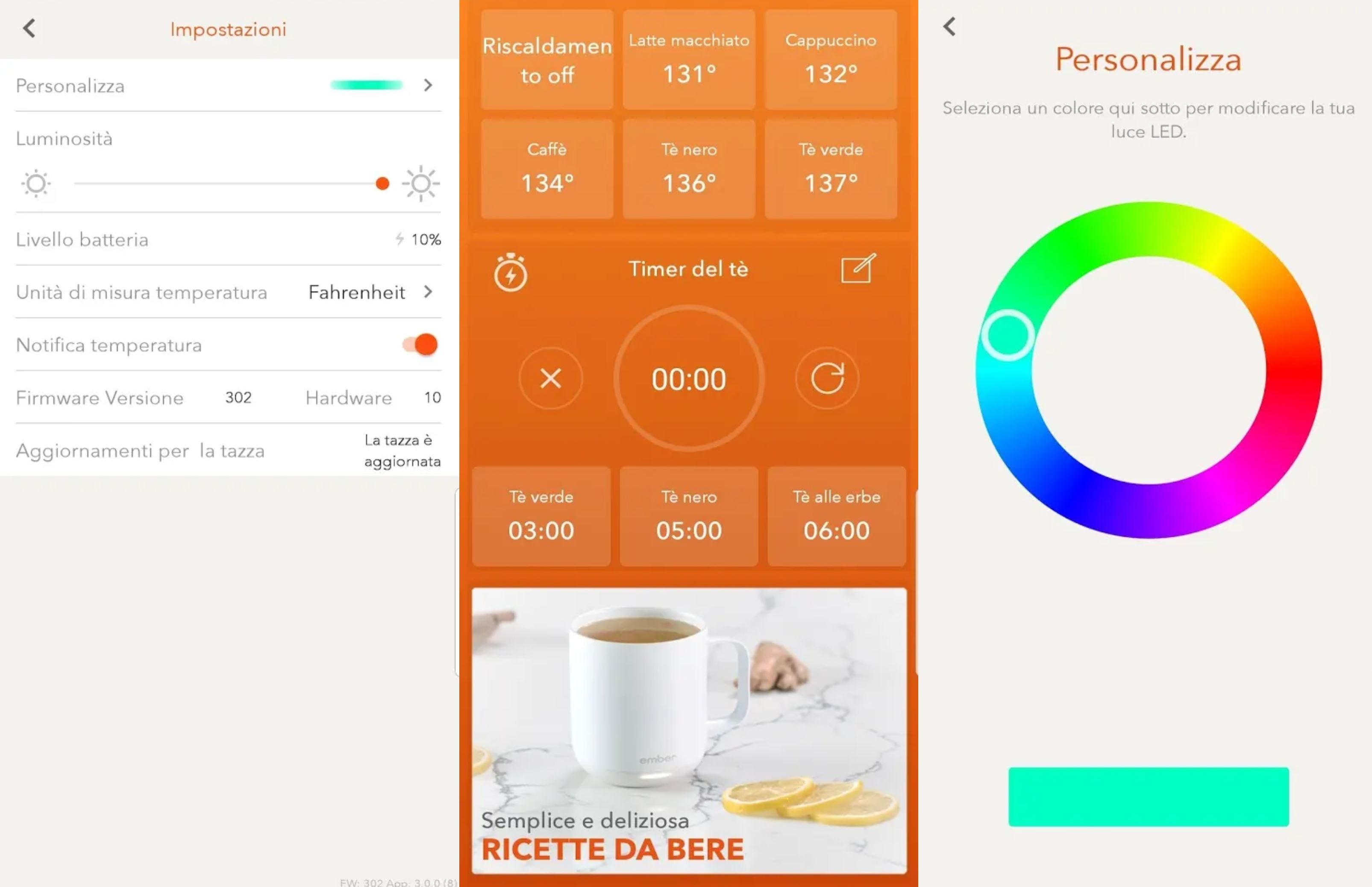 Tazza Ember - Impostazioni varie dell'app