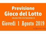 Previsione Lotto 1 Agosto 2019
