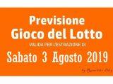 Previsione Lotto 3 Agosto 2019