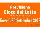 Previsione Lotto 26 Settembre 2019